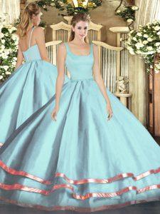 Fashionable Floor Length Ball Gowns Sleeveless Light Blue Sweet 16 Dress Zipper