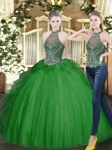 Floor Length Lace Up Quinceanera Gowns Dark Green for Military Ball and Sweet 16 and Quinceanera with Beading and Ruffles