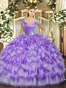 V-neck Sleeveless Organza 15th Birthday Dress Ruffled Layers Zipper