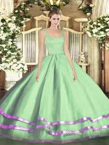 Apple Green Zipper Straps Ruffled Layers Ball Gown Prom Dress Tulle Sleeveless