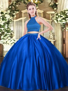 Sleeveless Backless Floor Length Beading 15 Quinceanera Dress