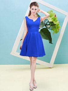 Blue Zipper Asymmetric Ruching Damas Dress Satin Sleeveless