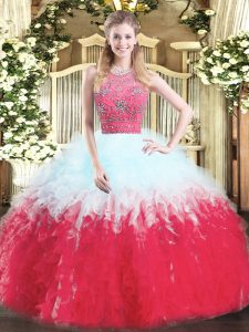Edgy Halter Top Sleeveless 15th Birthday Dress Floor Length Beading and Ruffles Multi-color Tulle