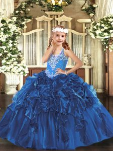 Blue V-neck Lace Up Beading and Ruffles Glitz Pageant Dress Sleeveless