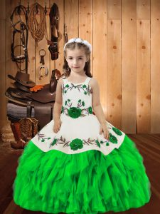 Green Straps Lace Up Embroidery and Ruffles Little Girls Pageant Dress Sleeveless