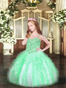 Most Popular Sleeveless Organza Floor Length Lace Up Pageant Dress for Teens in Apple Green with Appliques and Ruffles