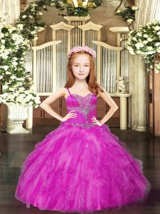 Elegant Beading and Ruffles High School Pageant Dress Fuchsia Lace Up Sleeveless Floor Length