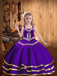 Great Sleeveless Organza Floor Length Lace Up Custom Made Pageant Dress in Purple with Embroidery and Ruffled Layers