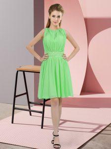 Apple Green Zipper Dama Dress Sequins Sleeveless Knee Length