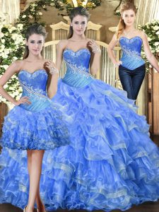Trendy Sleeveless Floor Length Beading and Ruffles Lace Up Vestidos de Quinceanera with Baby Blue