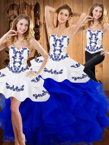 Sophisticated Floor Length Ball Gowns Sleeveless Blue Sweet 16 Quinceanera Dress Lace Up