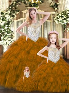 Brown Scoop Neckline Beading and Ruffles Ball Gown Prom Dress Sleeveless Lace Up