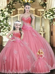 Watermelon Red Ball Gowns Beading Ball Gown Prom Dress Lace Up Tulle Sleeveless Floor Length