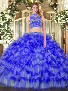 51977f5782b Blue Backless High-neck Beading and Ruffled Layers Quinceanera Dresses  Tulle Sleeveless