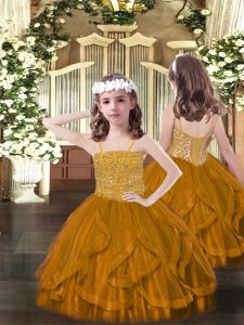 Amazing Brown Spaghetti Straps Neckline Beading and Ruffles Pageant Dresses Sleeveless Lace Up