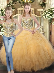 Gold Ball Gowns Beading and Ruffles Quince Ball Gowns Lace Up Tulle Sleeveless Floor Length