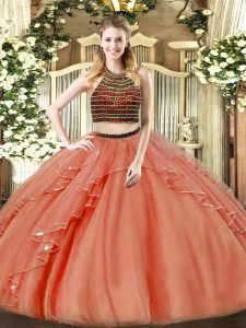 Rust Red Sleeveless Organza Zipper Ball Gown Prom Dress for Military Ball and Sweet 16 and Quinceanera