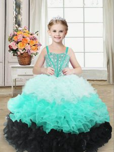 Multi-color Organza Lace Up Straps Sleeveless Floor Length Pageant Dress for Teens Beading and Ruffles