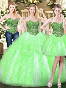 High Class Tulle Sweetheart Sleeveless Lace Up Beading and Ruffles Sweet 16 Quinceanera Dress in