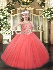 Straps Sleeveless Tulle Child Pageant Dress Beading Lace Up