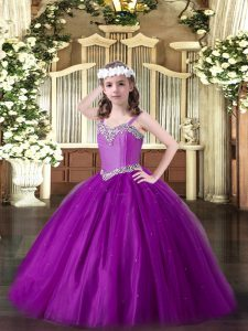Sleeveless Floor Length Beading Lace Up Pageant Dresses with Eggplant Purple
