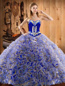 Superior Multi-color 15th Birthday Dress Military Ball and Sweet 16 and Quinceanera with Embroidery Sweetheart Sleeveless Sweep Train Lace Up