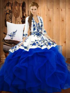 Blue Satin and Organza Lace Up 15th Birthday Dress Sleeveless Floor Length Embroidery