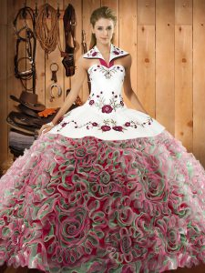 Multi-color Lace Up Halter Top Embroidery Quinceanera Dress Fabric With Rolling Flowers Sleeveless Sweep Train