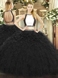 Floor Length Black Quinceanera Gowns Halter Top Sleeveless Backless