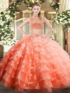 Luxury Orange Red Sleeveless Beading and Ruffled Layers Floor Length 15 Quinceanera Dress