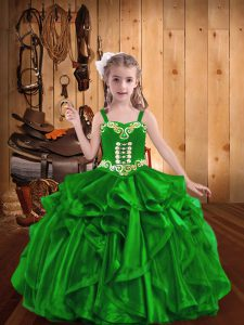 Elegant Floor Length Lace Up Kids Pageant Dress Green for Sweet 16 and Quinceanera with Embroidery and Ruffles