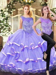 Superior Organza Sleeveless Floor Length Sweet 16 Dresses and Beading and Ruffled Layers