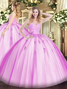 Lilac Sweetheart Lace Up Beading and Appliques Quinceanera Dress Sleeveless