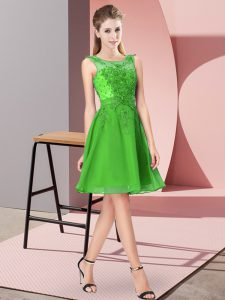 Green Scoop Neckline Appliques Quinceanera Court Dresses Sleeveless Zipper