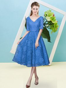 Dramatic Lace V-neck Half Sleeves Lace Up Bowknot Damas Dress in Blue