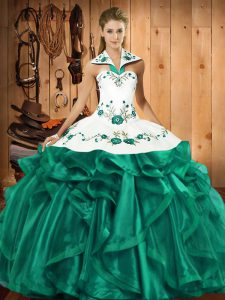 Turquoise Ball Gowns Satin and Organza Halter Top Sleeveless Embroidery and Ruffles Floor Length Lace Up Quince Ball Gowns