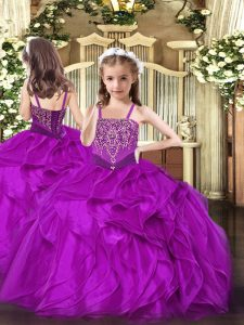 Latest Organza Sleeveless Floor Length Pageant Dress for Girls and Beading and Ruffles