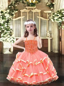 Perfect Organza Scoop Sleeveless Lace Up Beading and Ruffled Layers Little Girls Pageant Dress Wholesale in Watermelon Red