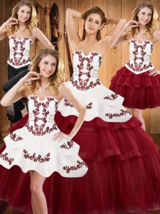 Burgundy Sleeveless Satin and Organza Lace Up Sweet 16 Dress for Military Ball and Sweet 16 and Quinceanera