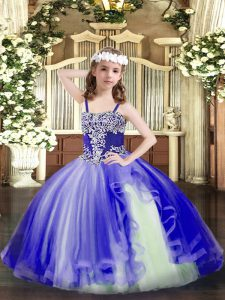 Perfect Tulle Straps Sleeveless Lace Up Appliques Little Girls Pageant Gowns in Blue