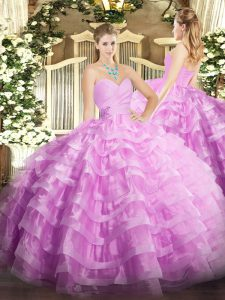 Sleeveless Organza Floor Length Lace Up Sweet 16 Dresses in Lilac with Beading and Ruffled Layers