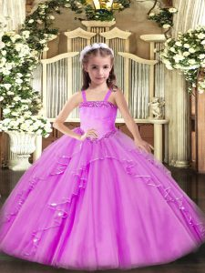 Straps Sleeveless Lace Up Pageant Gowns For Girls Lilac Organza