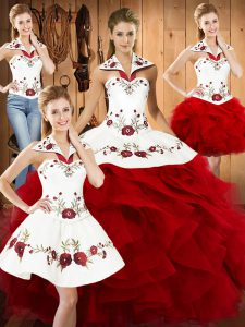 On Sale Wine Red Sleeveless Satin and Organza Lace Up Ball Gown Prom Dress for Military Ball and Sweet 16 and Quinceanera
