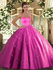 Flirting Tulle Sleeveless Floor Length 15 Quinceanera Dress and Beading and Appliques