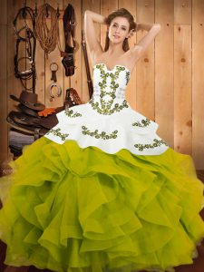 Strapless Sleeveless Satin and Organza Vestidos de Quinceanera Embroidery and Ruffles Lace Up