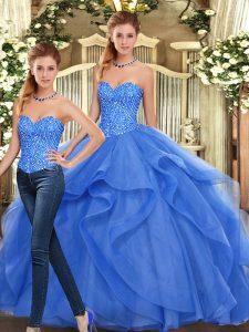 Floor Length Blue Vestidos de Quinceanera Sweetheart Sleeveless Lace Up