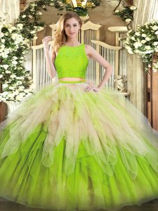 Fabulous Multi-color 15th Birthday Dress Military Ball and Sweet 16 and Quinceanera with Lace and Ruffles Scoop Sleeveless Zipper