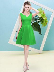 Admirable Asymmetric Sleeveless Zipper Dama Dress Green Satin