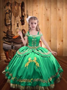 Turquoise Ball Gowns Beading and Embroidery Little Girls Pageant Dress Lace Up Satin Sleeveless Floor Length