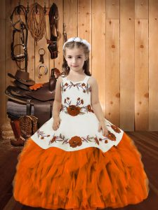 Orange Organza Lace Up High School Pageant Dress Sleeveless Floor Length Embroidery and Ruffles
